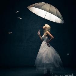 Girl With Umbrella - Fine Art